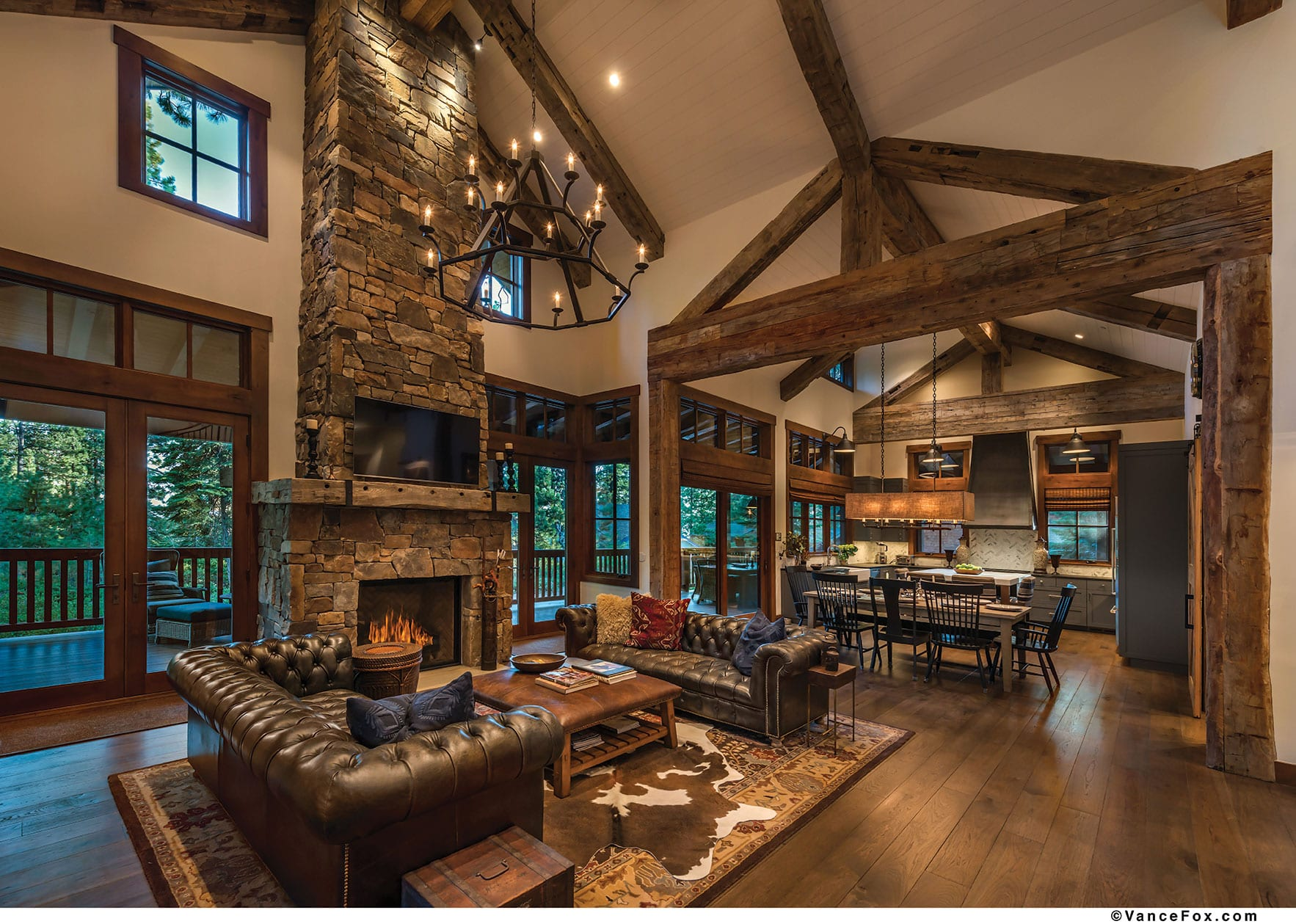 fireplace mountain to over classic awards the by cabins cabin tahoe in home floor fox towers a quarterly vance room photo great ceiling
